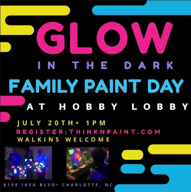 Glow In The Dark Family Paint Day at Hobby Lobby | Kids Out and